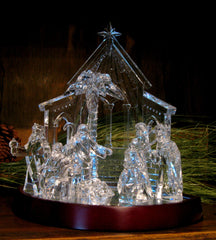 Miniature Nativity with Lighted Base