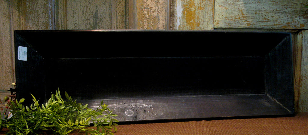 "26"" Primitive Black Wood Tray"