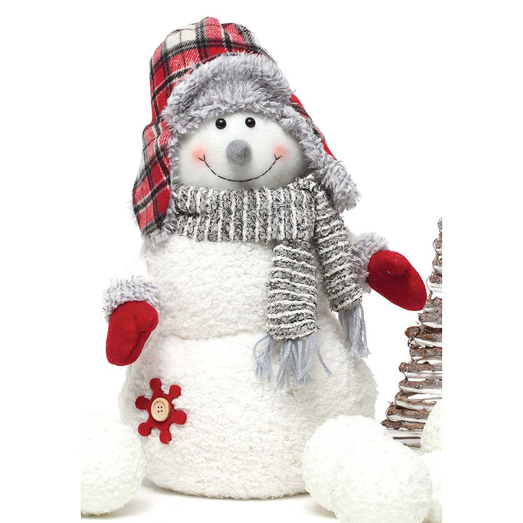 Snowman with Plaid Ear Flap Hat