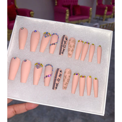 Matte Pink LV Press On Nails