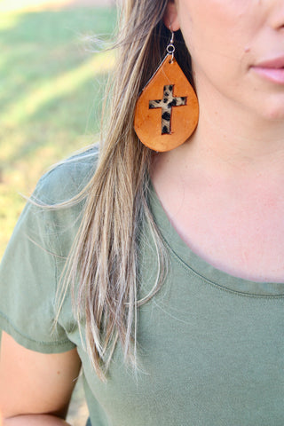 The Faith leather earrings
