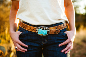 Turquoise and leopard buckle