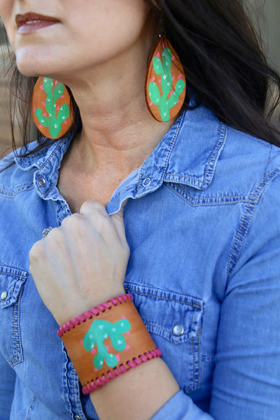 Pink cactus earrings