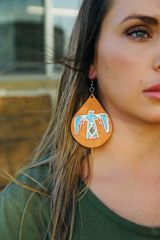 Thunderbird leather earrings
