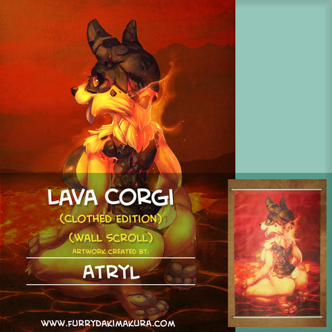 Lava Corgi Wall Scroll by Atryl