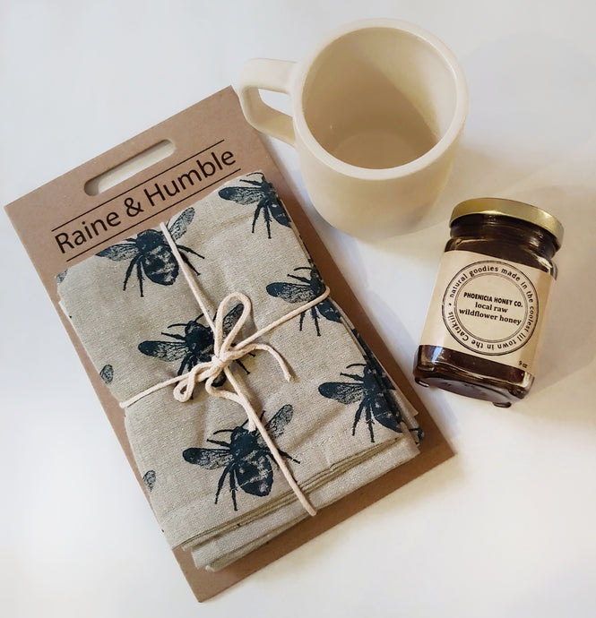 Bee tea towel and honey