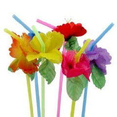 Tropical Hawaiian Bendy Flower Straws