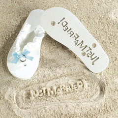 Just Married Flip Flops - Sand Imprint!