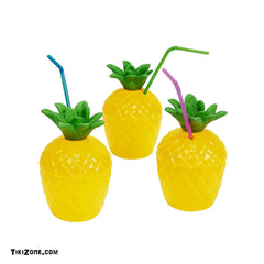 12 Plastic Tiki Pineapple Drink Cups