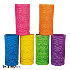 12 Assorted Colors Plastic Tiki Mugs
