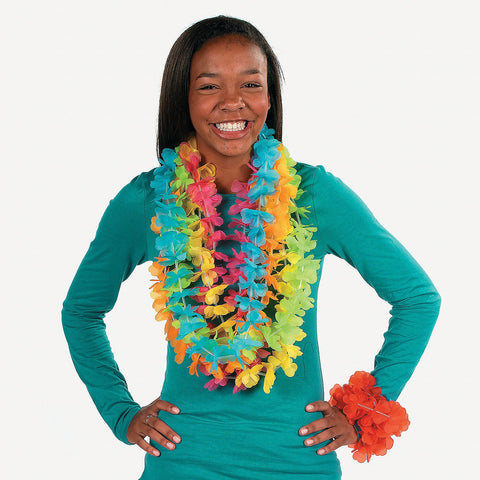 Neon Colored Bright Flower Leis