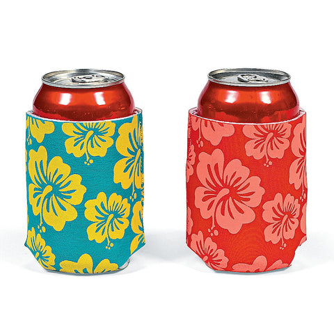 Tropical Flower Tiki Luau Can Koozies