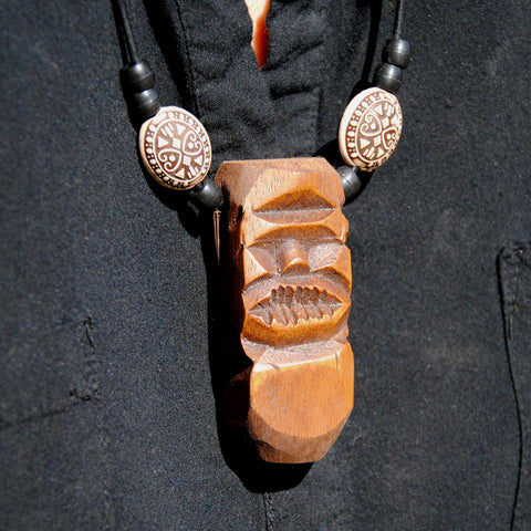 Carved Wood Tribal Tiki Necklace