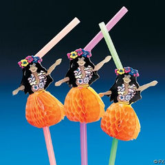 Tropical Paper Hula Girl Party Straws