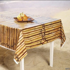 Faux Bamboo Tropical Tiki Table Cover