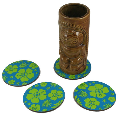 4 Pack of Blue Hawaiian Tiki Bar Coasters