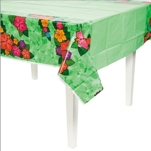 Green Hibiscus Flower Tiki Tablecloth