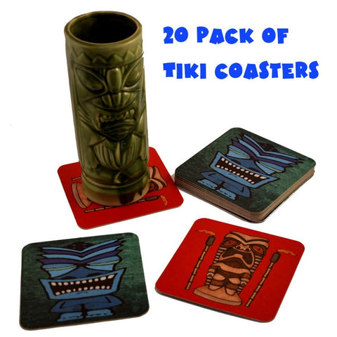 20 Pack Tiki Bar Drink Cocktail Coasters