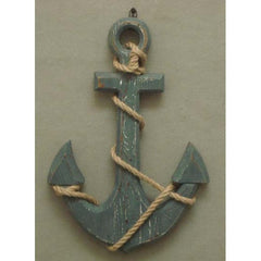 Nautical Decor Wood Anchor with Rope