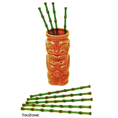 25 Bamboo Tiki Cocktail Swizzles - Party Stirrers