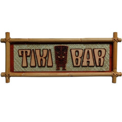 Carved Wood and Bamboo Tiki Bar Sign