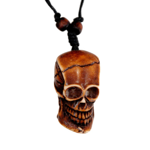 Bone Pirate Head Skull Necklace