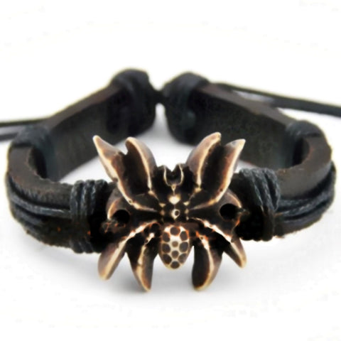 Carved Bone Spider Leather Bracelet