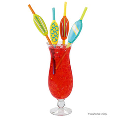 12 Bendy Surfboard Luau Straws