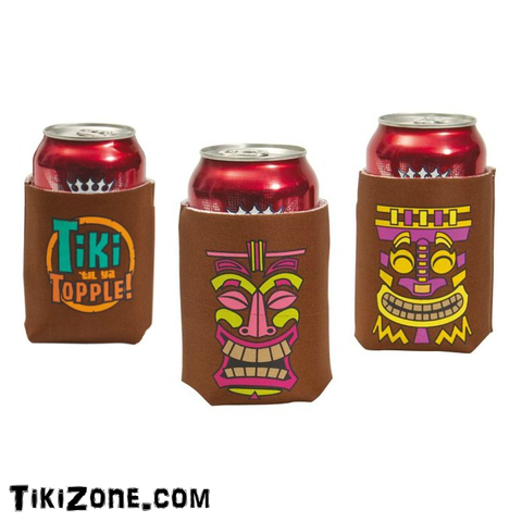 Hawaiian Tiki Print Party Can Koozies
