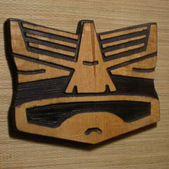 Punchy Face Carved Tiki Wall Plaque