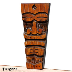 Carved Wood Wall Hanging Toothed Tiki