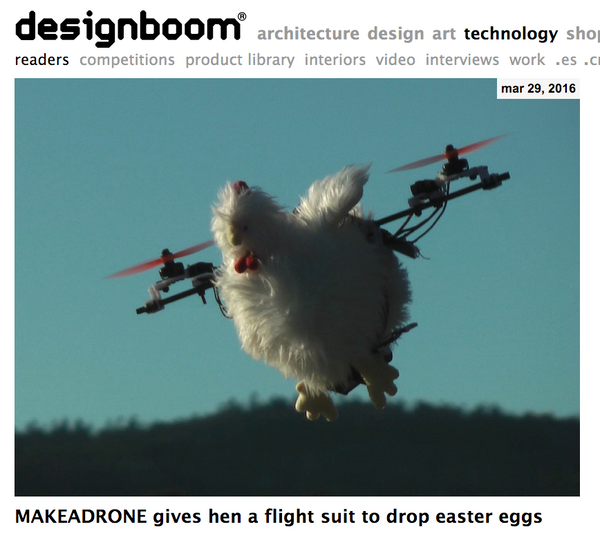 designboom flying easter chicken