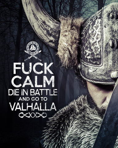 Fuck Calm die in Battle and go to Valhalla Viking T-shirt MLG-1091