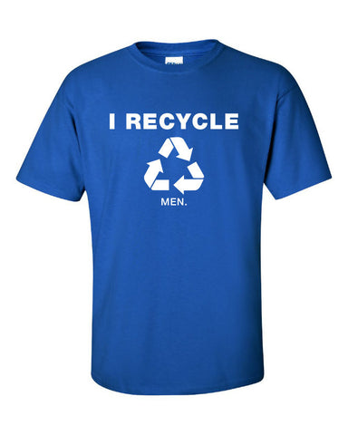 reduce reuse recycled i recycle men blue box pimp pimpin joke funny Printed graphic T-Shirt Tee Shirt Mens Ladies Womens Youth Kids ML-045