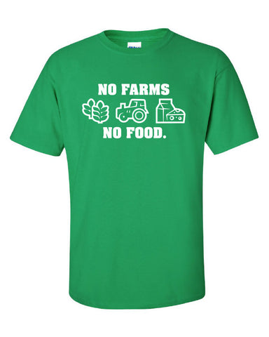 No Farms = No Food Support Your Local Farmers dairy grain Printed T-Shirt Tee Shirt Mens Ladies Womens dad farmer Kids wheat mad labs ML-221