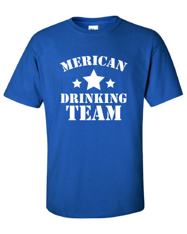 Merican Drinking Team American muurica beer bar USA Old School Printed graphic T-Shirt Tee Shirt t Mens Ladies Womens Youth Kids ML-248
