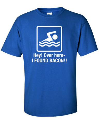 Hey over here I Found Bacon Funny T-Shirt Tee Shirt T Mens Ladies Womens Funny Star Geek Nerd band swimming Metal mad labs ass ML-257