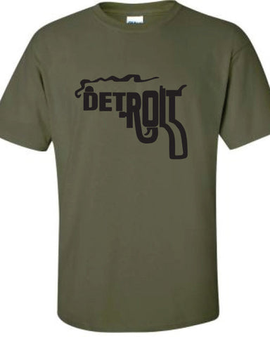 Detroit City Smoking Gun cop soldier brother gangster retro semper fi T-Shirt Tee Shirt Mens Ladies Womens gift support mad labs ML-314b