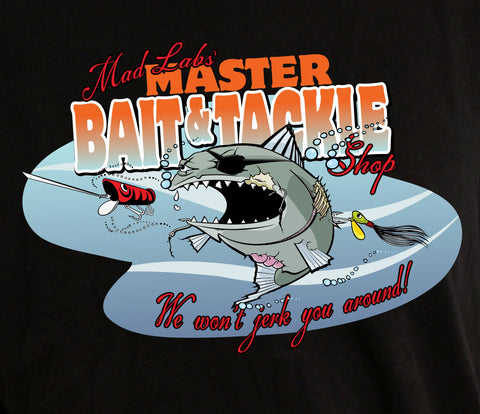 Master Bait and Tackle Shop Master Baiter fishing hunting funny offensive cool Printed T-Shirt Tee Shirt Mens Ladies dad mad labs ML-417