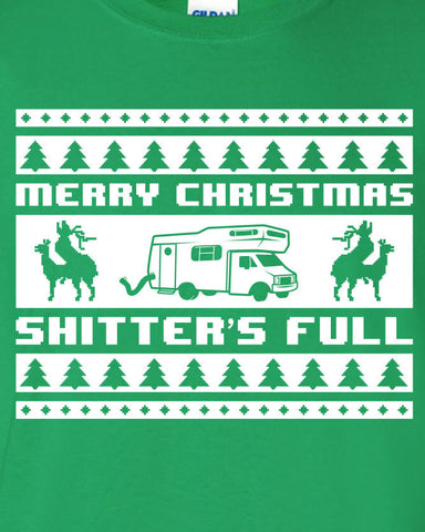 Merry Christmas Shitter's Full National Lampoon's Christmas Vacation Inspired T-shirt Shirt Swag Xmas Hot Funny Mens Ladies Gift ML-187