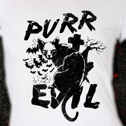 Purr Evil Cat t-shirt satanic shirt, goth, hipster, hail satan, quote, trendy cool skull gift gothic halloween Mens Ladies swag MLG-1057
