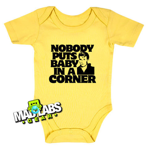 Nobody Puts Baby in a Corner cute funny baby one piece movie reference 80s jumper Bodysuit Creeper Dirty B-1