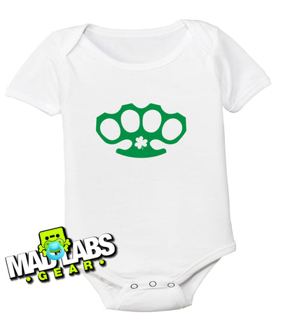 Irish Scottish Hooligan knuckle brace brass knuckles cute funny baby one piece non-toxic, water-based inks jumper Bodysuit Creeper Dirty B-7