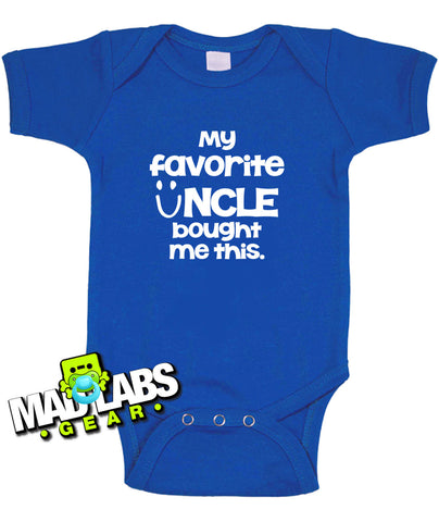 My Favorite Uncle Bought Me This first cute funny baby one piece music tv show geek nerd jumper Bodysuit Creeper Dirty DJ B-32