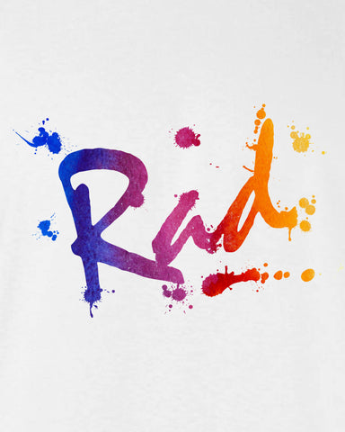Rad T-shirt tee Shirt 80s skater inspired summer surfer paint splash Hot Funny 80s summer miami california Mens Ladies cool MLG-1094