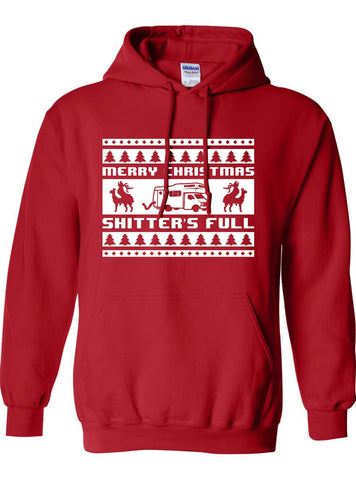 Merry Christmas Shitter's Full Ugly Christmas Sweater Movie inspired 80s 90s Hoodie Hooded Sweatshirt Xmas Funny Mens Ladies ML-187h