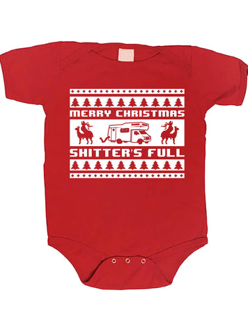 Merry Christmas Shitter's Full Poopie Diaper xmas funny baby one piece non-toxic, water-based inks jumper Bodysuit Creeper Dirty ML-187b