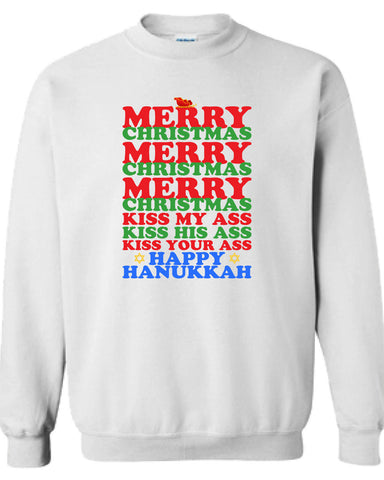 Merry Christmas Kiss my Ass his ass your ass Happy Hanukkah Vacation sweater Shirt T-shirt Hoodie ugly Funny Mens Ladies cool MLG-1103