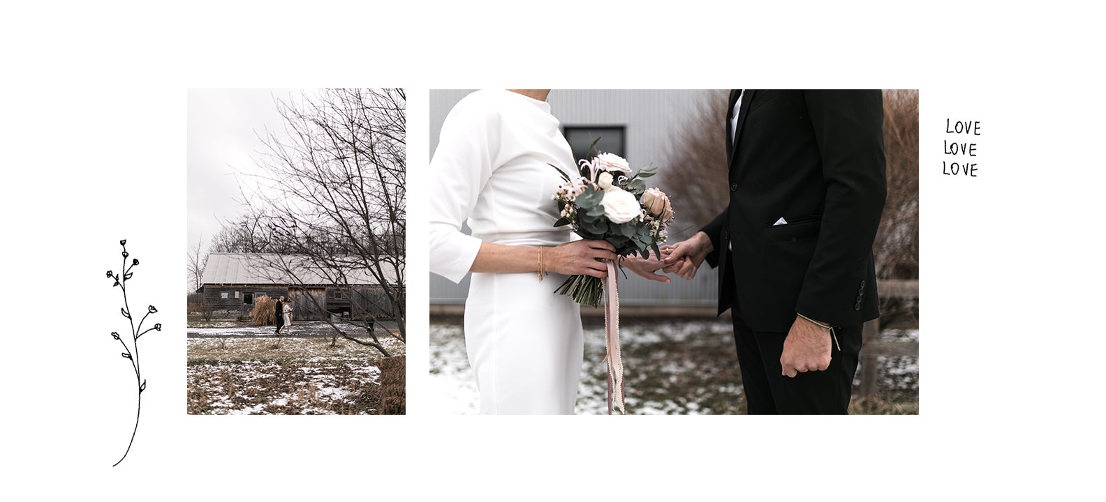 snowy christmas wedding