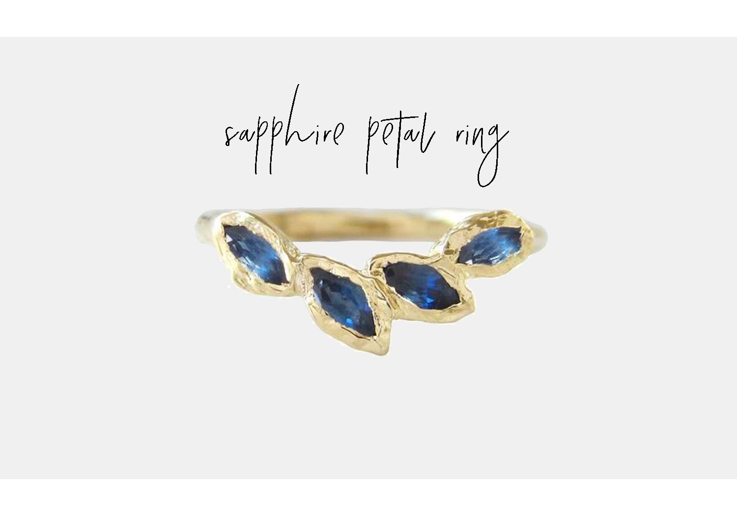 blue sapphire petal ring by misa at bluboho